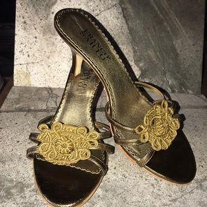 EUC Franco Sarto Nocturne Gold slide sandals